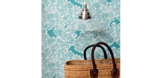 Papier peint Turquoise et blanc 48x300 cm