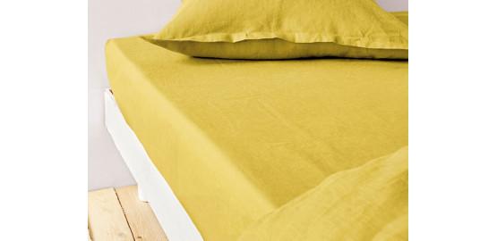 Drap housse lin métis jaune moutarde